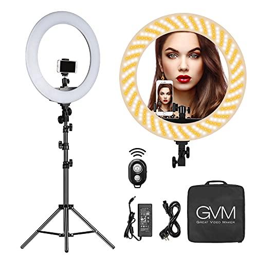 GVM 48cm Anello lampada a LED con treppiede, luce ad anello per selfie dimmerabile 55W LED, luce ad anello per fotografia, lampada a LED Video per trucco da studio Youtube TikTok