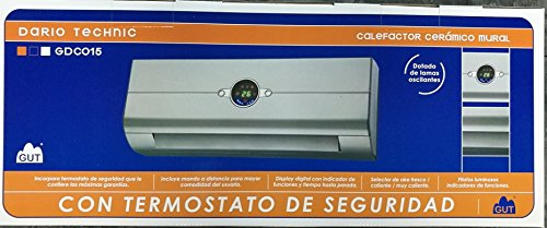 GUT Calefactor Dario Silver Technic GDC015, Gris, Pequeño