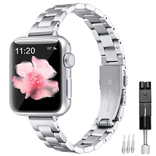 fastgo Metal Bands compatible with Apple Watch Women 38mm 40mm, Stainless Steel Replacement Wristbands Thin Watchbands Straps Bracelet compatible with Iwatch SE Series 6/5/4/3/2/1(Silver-38mm/40mm)