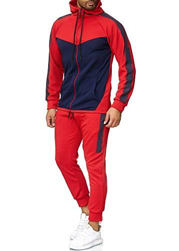OneRedox Herren Jogginganzug Sportanzug Trainingsanzug Sweatshirt Hose Jogging Anzug Modell 1053 Rot L