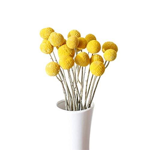 Flores falsas artificiales, ramo de flores de plástico faux, decoración de bodas de jardín, 30 tallos de 2,5-4 cm de diámetro flores secas naturales, bolas amarillas paquetes de ramo de ramo flores se