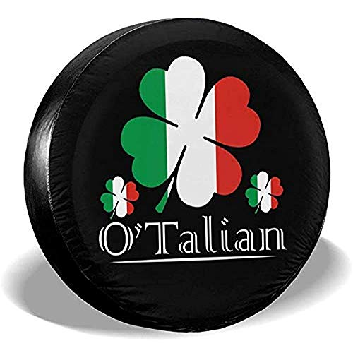 Beth-D O'Talian Irish 4 Leaf Clover Italiaanse Vlag Universele Fit Tire Covers Waterdichte stofdichte Reserveband Cover 14-17inch
