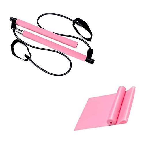Gaoominy Kit de Barra de Pilates con Bandas de Resistencia Foot Loop Yoga Pilates Barra de Ejercicios para Entrenamiento de Gimnasio en Casa Pilates Rosa