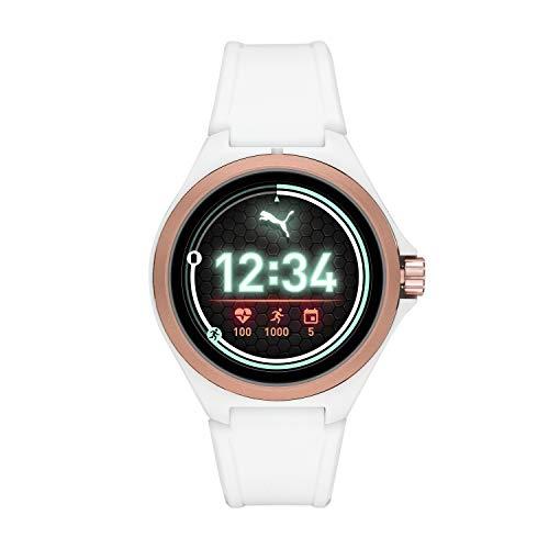 PUMA Sport Smartwatch ligero pantalla táctil con notificaciones de frecuencia cardíaca, GPS, NFC y Smartphone, 44mm, Negro