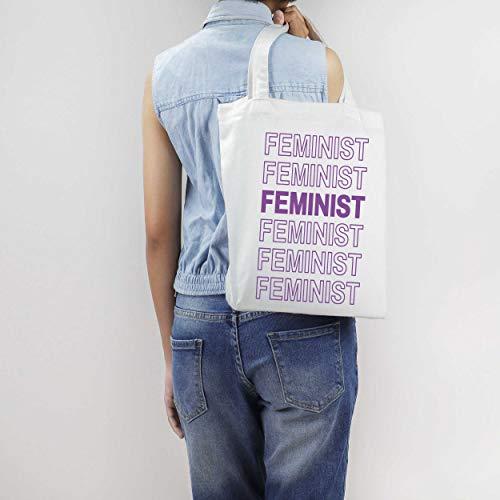 Bolso de mano con diseño de letra hueca feminista con texto feminista en bolso de lona beige eslogan feminista