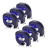 UniPlus 6x Kompatible Band als Ersatz für Dymo Letratag Etikettenband 91221 91201 S0721660 für Dymo LetraTag LT-100H LT110T LT-100T XR QX50 Etikettendrucker, 12mm x 4m, Schwarz auf Weiß