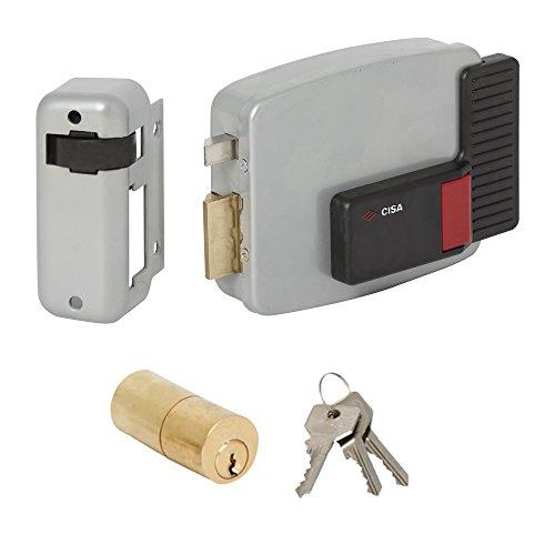 Cisa 11520-40 Serratura Elettrica per Cancello 11611, Entrata Sinistra, 60 mm, Verniciato Grigio Alluminio, 60
