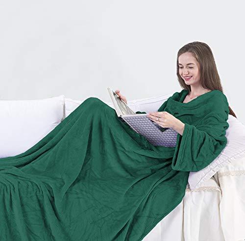 DecoKing Kuscheldecke mit Ärmeln 170x200 cm grün Microfaser TV Decke weich Tagesdecke Lazy