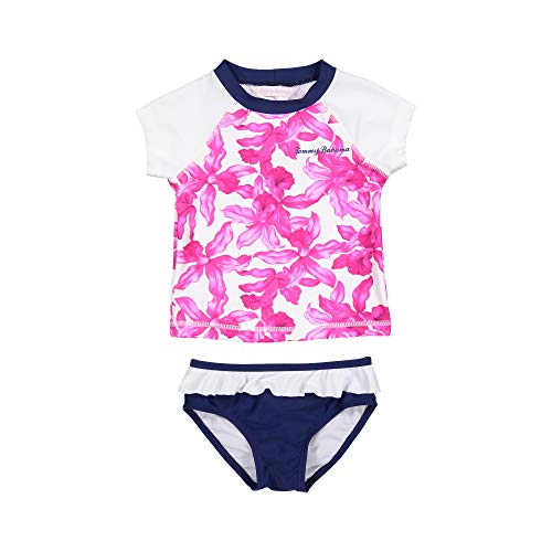 Tommy Bahama Girls' Big 2-Piece Shirt and Bikini Bottom Swim Set, Fuchsia Tropical Floral, 16