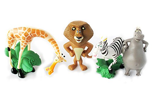 Set of 4 Madagscar 3' to 4' Figures Featuring Gloria the Hippo, Alex the Lion, Marty the Zebra, and Melman the Hypochondriac Giraffe