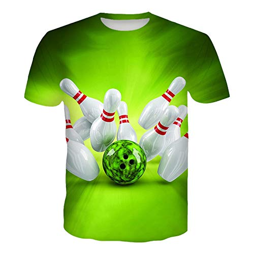 AFASSW Männer Kurzarm Hemden, Persönlichkeit 3D Lustig Paar Verschleiß, Green Bowling Drucken T-Stücke T-Shirt Plus Size Slim Short Sleeve T-Shirt Bluse Top S - XXL, 6XL
