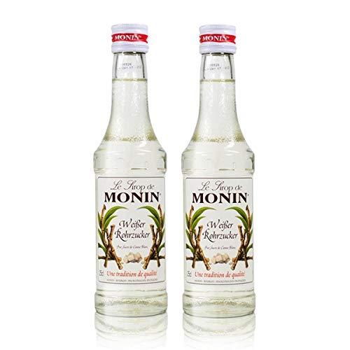 2x Monin Weißer Rohrzucker Sirup, 250 ml Flasche - für Cocktails, zum Kaffee oder Kochen