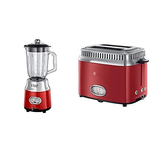 Russell Hobbs Retro 25190-56 - Batidora vaso 800 W, vaso cristal, batidora smoothies, picadora hielo, acero inoxidable, color rojo + Retro - Tostadora Vintage