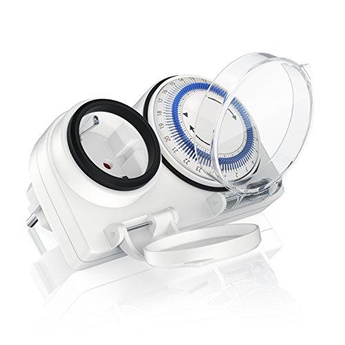 Bearware - Zeitschaltuhr Outdoor mechanische Timer - 96 Schaltsegmente - Einstellung in 15 Minuten Schritten - 3680W - IP 44 Schutzart Outdoor - spritzwassergeschützt - integrierter Berührungsschutz