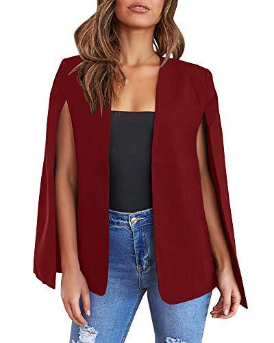 Ybenlover Damen Cape Blazer Split Ärmel vorne offen solide Jacke Workwear mit Taschen, Weinrot, XXL