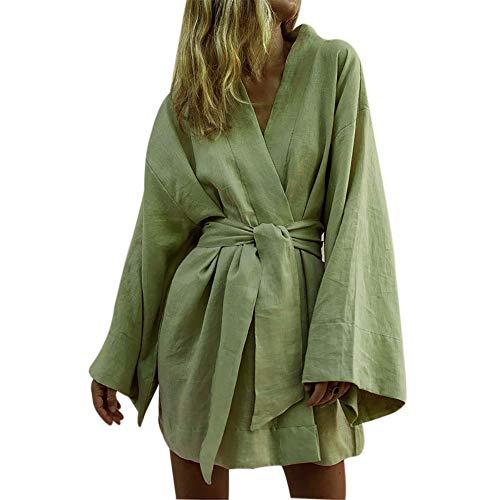 Shujin Damen Baumwolle Leinen Blusenkleid Elegant V-Ausschnitt Einfarbig Kimono Design Kurz Langarm Sommerkleid Strand Minikleid mit Gürtel