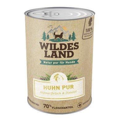 Wildes Land   Nassfutter für Hunde   Huhn PUR   6 x 800 g   mit Distelöl   Getreidefrei & Hypoallergen   Extra hoher Fleischanteil von 70%   Beste Akzeptanz und Verträglichkeit