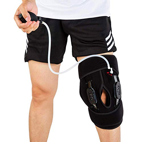 Ice Pack for Knee, Cold Compression for Knee, Cold Therapy-Gel Ice Wrap with Air Pump, Fit for Sprains, ACL, Torn Meniscus, Athletic, Swelling & Sports Injuries Pain Relief (with Hinge)