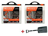 AutoSock AS697 Traction Wheel and Tire Cover for Ice & Snow Easy Install Tire Chain Alternative (2 Sets) with Emergency Snow Shovel