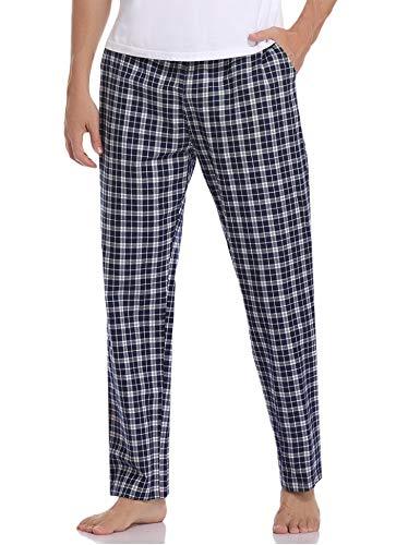 Aibrou Herren Schlafanzughose Lang Pyjamahose Kariert Freizeithose aus Baumwolle Nachtwäsche Hose mit Elastischer Taille Loungewear für Herren, Farbe: Navy blau, Gr.XL