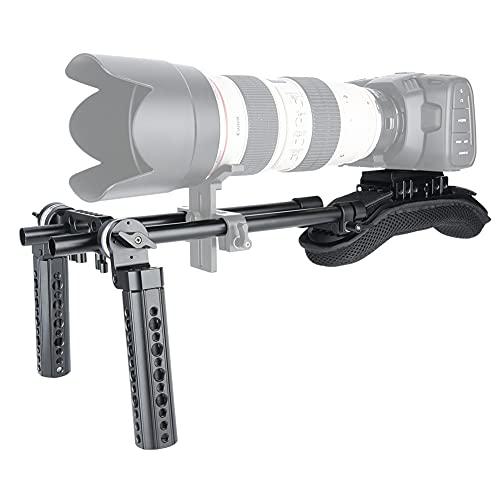 NICEYRIG 15mm Shoulder Pad Rig Rail Support System with QR Base Plate, 15mm Rod Clamp, Rosette Handle Grips for DSLR Video Camera Camcorder