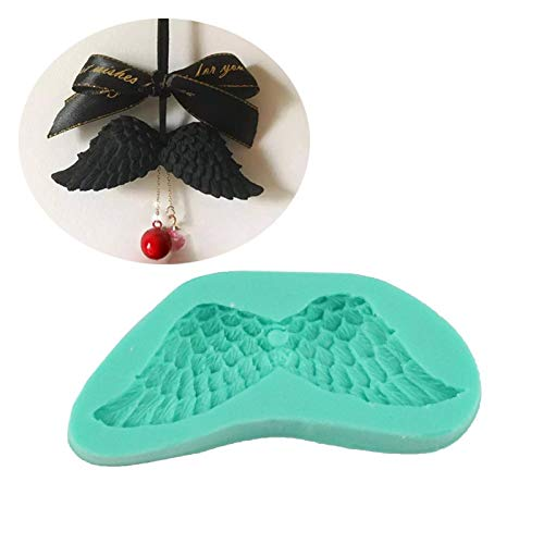 Baking mould Angel Wings Shape Cake Decorating Tools Silicone Mold Fondant Sugarcraft Chocolate Gumpaste Tool (Color : Green)