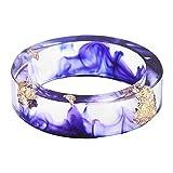 BIGBOBA Anillo de Resina Transparente Hecho a Mano con diseño de Flores secas Joyas Accesorios Regalos para Mujer, Azul Marino,20mm