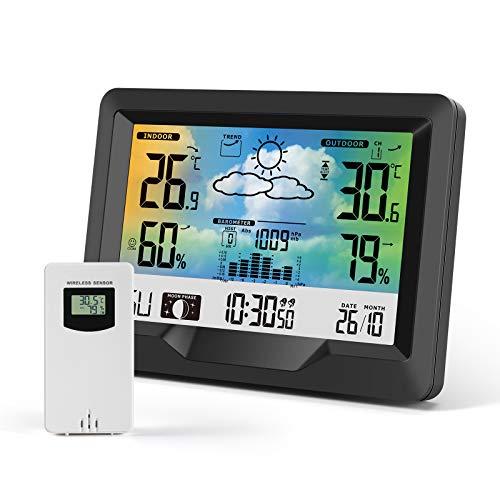 KNMY Wetterstation mit Außensensor Funk, Termometer Digital Innen und Außen, Funkwetterstation mit Farbdisplay, Multifunktion Hygrometer Wettervorhersage Mondphasen Uhrzeitanzeige Wecker
