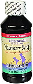 HERBS FOR KIDS Organic Eldertussin Elderberry Syrup, 4 FZ