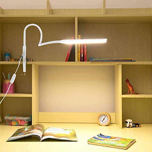 SANGSHI Lámpara de escritorio con pinza regulable y brazo giratorio, flexible, con cuello de cisne USB, lámpara de mesa para estudio/lectura/hogar/oficina/trabajo
