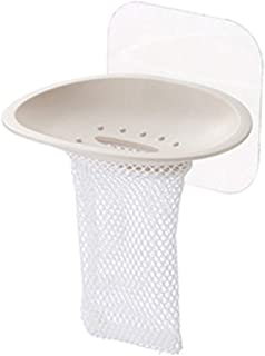 Exquisite soap Box Soap Dish Holder Suction Cup Plastic Soap Dish with Mesh for Bathroom Kitchen Blue (Color : Beige)