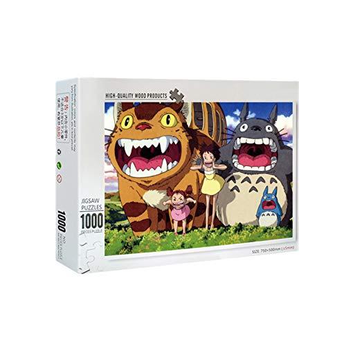 Rompecabezas para Adultos Juego de Puzzle Puzzle de 1000 Piezas de Madera Totoro Grito, desafiante estrés Escena Rompecabezas Juego Educativo Alivio de Juguete para Adultos niños