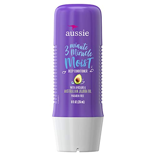 Aussie Paraben-Free Miracle Moist 3 Minute Miracle w/ Avocado for Dry Hair Repair, 8.0 fl oz