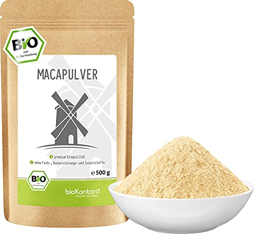 Maca Pulver BIO 500g helles Macapulver aus Peru I laborgeprüft aus kontrolliert biologischem Anbau I ohne Zusatzstoffe - 100{0000a8f372aa2e3c560e14df4fef4020adfb7fcf0783b16373fd7f1a513e95e6} rein I per Hand abgefüllt in Deutschland von bioKontor