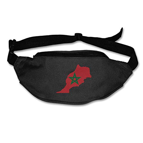 Riñonera Deportivo Bolso Cintura Cinturón Ajustable Running Belt Bolsa de Correr Mapa de la Bandera de Marruecos