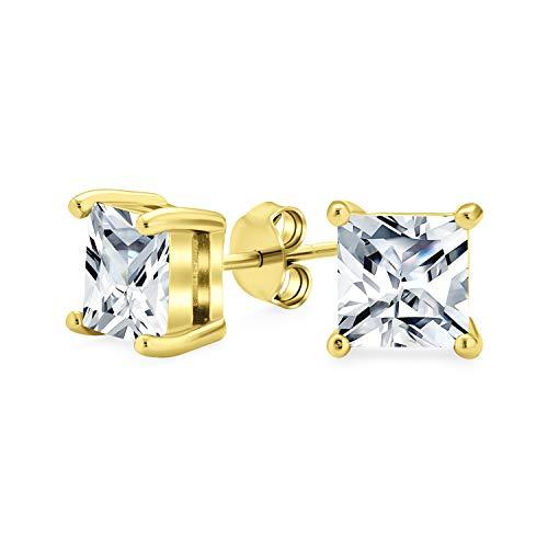 1.50 Ct cuadrado cúbico Zirconia solitario brillante corte brillante princesa CZ Stud Pendientes para mujeres chapa de oro plata de ley 7MM