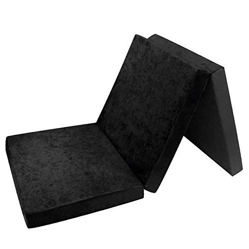 Fortisline Matelas d'appoint Pliant Lit d'appoint Lit d'invité futon Pouf 195x80x9 cm Couleur Noir W389_16