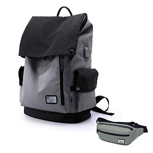 Wind Took USB Anschluss Laptop Rucksack Damen Herren Daypack Schulrucksack für 15,6 Zoll Notebook, Wasserabweisend, Grau mit Bauchtasche Schwarz, Geschenk