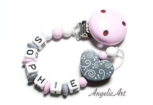 Schnullerkette mit Namen - Junge Mädchen - VIELE MODELLE - Häkelperle 3D Tiere Motivscheiben (rosa,Herz)
