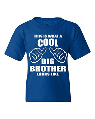 This is What A Cool Big Brother Looks Like Youth's T-Shirt Funny Shirts Youth X-Large Royal Blue