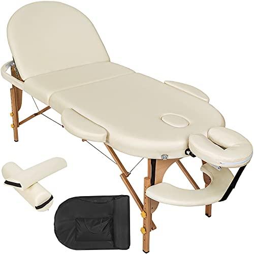 TecTake Camilla de Masaje Mesa de Masaje 3 Zonas Reiki Terapia Oval + Set (Beige | No. 400193)