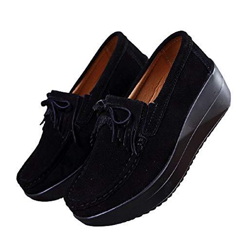 Zapatos Gruesos para Mujer Borla Inferior Suave al Aire Libre Primavera Otoño Resbalón Resistente al Desgaste Ocio Caminar Zapatos clásicos de cuña para Mujer