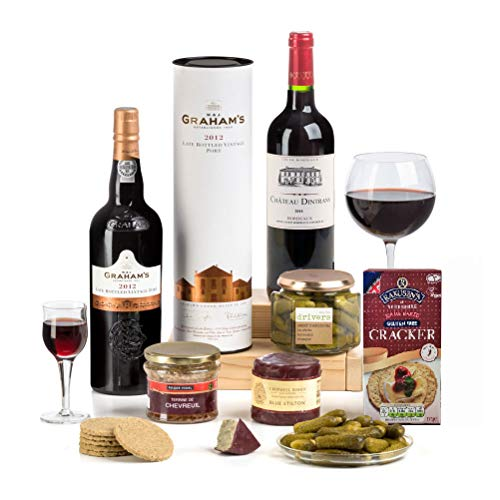 Hay Hampers Gluten Free Port, Wine & Cheese Hamper in Gift Box - FREE UK Delivery