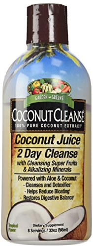 Garden Greens Coconut Juice, 2 Day Cleanse Powered with Aloe and Coconut, Cleanse and Detox, 8 servings