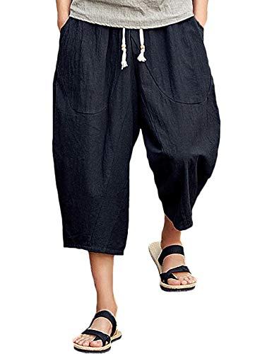 Rexcyril Men's Baggy Linen Capri Pants, Casual Loose Drawstring Harem Yoga Long Shorts with Pockets Black, 38-41