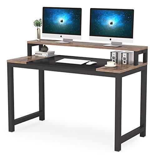 Tribesigns Escritorio para ordenador, diseño simple y moderno, mesa de ordenador portátil, mesa de estudio con estante de monitor, estación de trabajo industrial de madera y metal para espacio