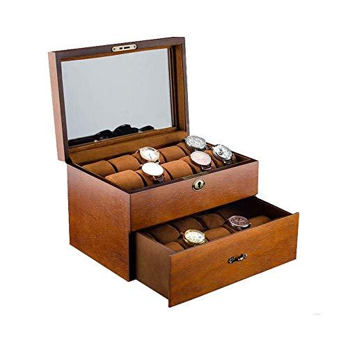 Slotted Locked Watch Box Storage Box Watch Box For Men 20 Slot Vitrine Organizer Glazen sieraden Storage Black Watch Box met glazen afdekplaat (Kleur: Bruin) Mooie en praktische horlogebox.