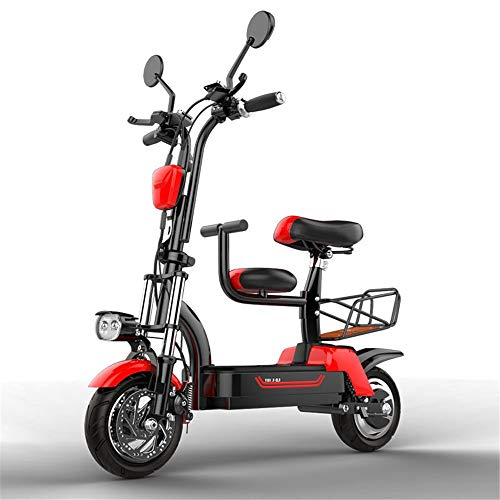YAUUYA Patinete eléctrico para adulto plegable 580 W con asiento para niños desmontable, motor potente, pantalla LCD, motor potente, 37 km/h, duración máxima de 100 km