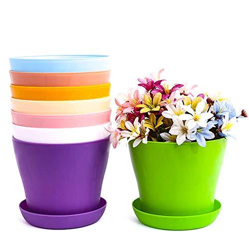 Macetas de plástico coloridas para plantas,8 macetas pequeñas de plástico para interiores y exteriores,macetas redondas plantas contenedores para oficina,casa,escritorio con bandejas para paletas