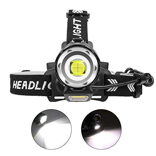 12000 Lumen Rechargeable Headlamp, PROFORUS XHP90 Brightest LED Headlamp Flashlight High Lumens Head Torch Zoom able with 3 x Batteries Tactical Headlamps for Adults Camping Hiking Caving